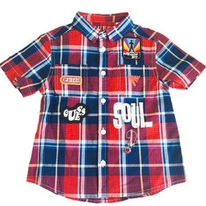 GUESS Plaid Button Down Shirt Red/Navy Boys Age 2Y